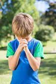 foto of evangelism  - Little boy saying his prayers on a sunny day - JPG