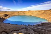 picture of volcanic  - Volcanic crater with the lake inside near Krafla in Northern Iceland - JPG