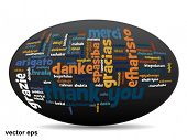 stock photo of appreciation  - Vector concept or conceptual abstract thank you word cloud in different languages or multilingual for education or thanksgiving day - JPG