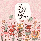 stock photo of owls  - You are my love concept set in vector - JPG
