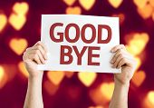 stock photo of goodbye  - Goodbye card with heart bokeh background - JPG