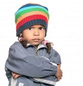 stock photo of rap-girl  - Angry little multiracial girl isolated on a white background - JPG