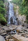 stock photo of rainforest  - Tropical rainforest waterfall of Sunanta waterfall in Nakhon Si Thammarat - JPG