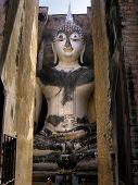 foto of chums  - Pra Ajana at Wat Si Chum Sukhothai Historical Park Thailand - JPG