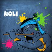 foto of hindu  - Hindu mythology Lord Krishna playing flute on blue chalkboard on occasion of Indian festival of colors - JPG