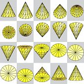 image of cylinder pyramid  - Background of yellow rotating cone on a plaid pattern - JPG