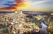 pic of parador  - beautiful sunset over old Toledo - JPG