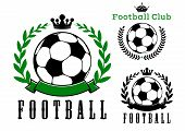 picture of crown  - Football or soccer club badges design with balls encircled by laurel wreaths with crowns and ribbon banner - JPG