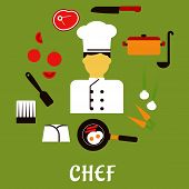 stock photo of chefs hat  - Chef profession flat concept with man in uniform surrounded by fresh tomatoes - JPG