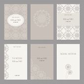Постер, плакат: Vector Set Of Of Vintage Cards Templates Editable Wedding Invitation ard Save The Date Cards Th