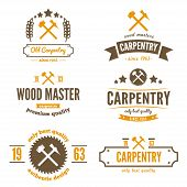 Set of logo, label, badge and logotype elements for sawmill, carpentry or woodworkers poster
