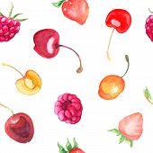 image of cherries  - seamless pattern with raspberry - JPG