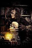 image of steampunk  - Portrait of a man steampunk in his research laboratory - JPG