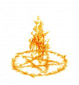 picture of pentacle  - orange flame pentagram isolated on white background - JPG