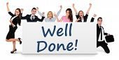 foto of job well done  - Well done word writing on banner - JPG