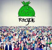 stock photo of reuse  - Recycle Reuse Eco Friendly Green Business Concept - JPG