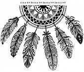 stock photo of dreamcatcher  - Decoration dreamcatcher in tribe style - JPG