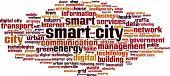 image of smart grid  - Smart city word cloud concept - JPG