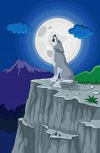 picture of wolf moon  - Vector illustration of Cartoon Wolf howling under the full moon - JPG