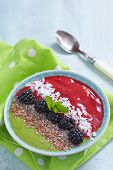 picture of blackberries  - Breakfast bowl with green and blackberry smoothie - JPG