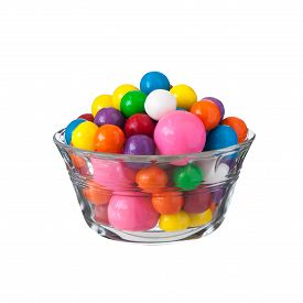 image of gumballs  - Multicolored gumballs bubble gums close up on white - JPG