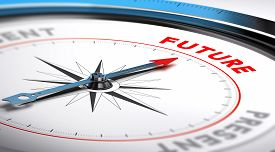stock photo of future  - Compass with needle pointing the word future - JPG