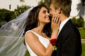 foto of wedding couple  - Happy bride and groom on their wedding day - JPG