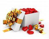Caja abierta llenada corazón San Valentín día concepto (más calidad regalos en mi Galería)