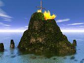 Burning Metal Cross On An Island - Digital Illustration