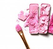 pink eyeshadow and face powder - make-up for fashion and beauty magazines.