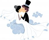 Illustration of Newlyweds Sharing a Kiss