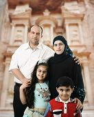 Happy Muslim family in Petra, Jordan