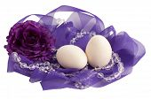 eggs in a purple nest