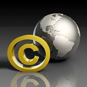 Global Copyright Concept in 3d Presentation Art