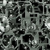 Seamless Mechanical Background with Cogs as Art
