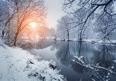 Colorful Landscape With Snowy Trees, Beautiful Frozen River At Sunset poster
