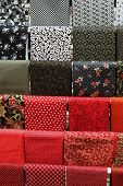 Red And Black Samples Of Cotton Fabric For Toysc