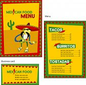 Template designs of Mexican menu and business card for coffee shop and restaurant, vector file inclu