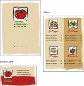 Template designs of menu and business card for coffee shop and Italian restaurant, vector file inclu
