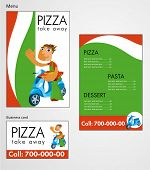 Template designs of menu and business card for pizza restaurant, take away