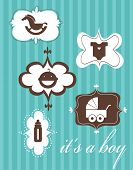 Template design of newborn greeting card