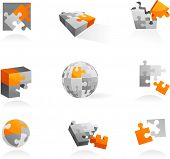 Set of vector puzzle icons and elements - 1