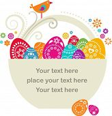 stock photo of easter basket eggs  - Easter card template  - JPG