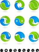 image of yang  - Set of  blue and green Yin Yang symbols - JPG