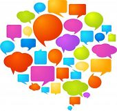 stock photo of debate  - Collection of colorful speech bubbles and dialog balloons - JPG