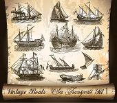 Transporte vintage: Navio, barcos e navios, com um fundo de pergaminho antigo