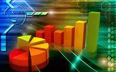 Digital illustration of Business Graph in 3d on digital background