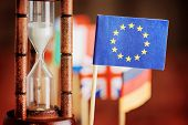 Hourglass And Flag Of The European Union. Time Is Running Out poster
