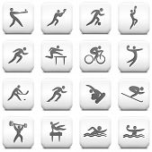 Athlete Icon on Square Black and White Button Collection Original Illustration