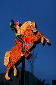 Neon Cowboy riding a horse on the old strip at Fremont Street in downtown Las Vegas Nevada